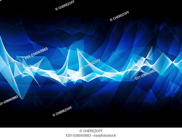 Abstract blue background with light spots and waves