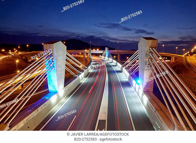Traffic, Freeway bridge, Autopista A8, Near of San Sebastian Donostia, Gipuzkoa, Basque Country, Spain, Europe