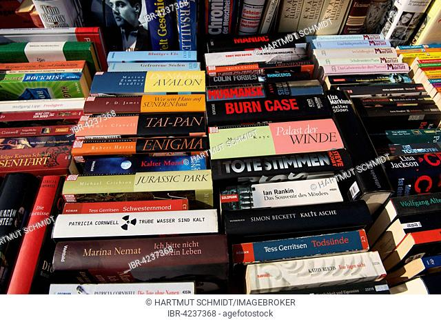 Book market, many German books, novels and thrillers