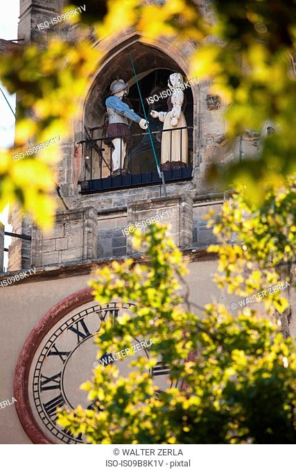 Detail of town hall clock tower, Avignon, Provence-Alpes-Cote d'Azur, France
