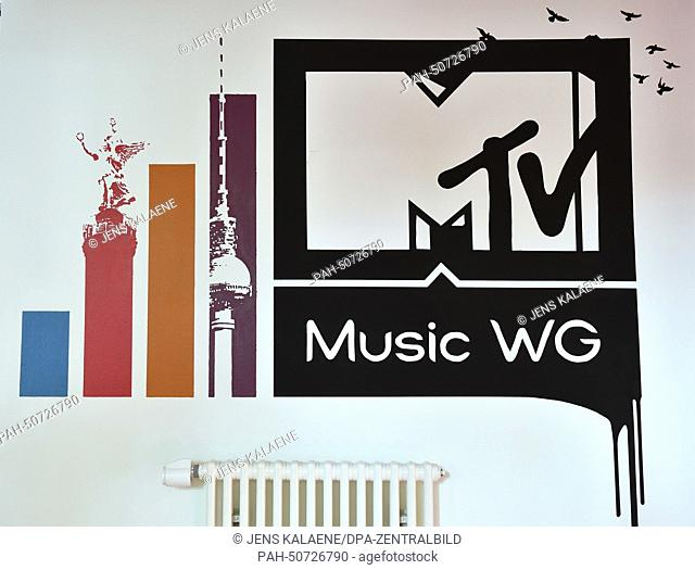 The logo of MTVMusic WG (WG stands for flat share) in the apartment in a villa in Berlin-Kreuzberg, Germany, 31 July 2014