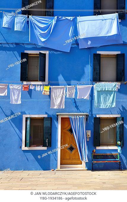 Burano - characteristic colorful houses in Burano near Venice, (Burano Lagoon Island), Italy