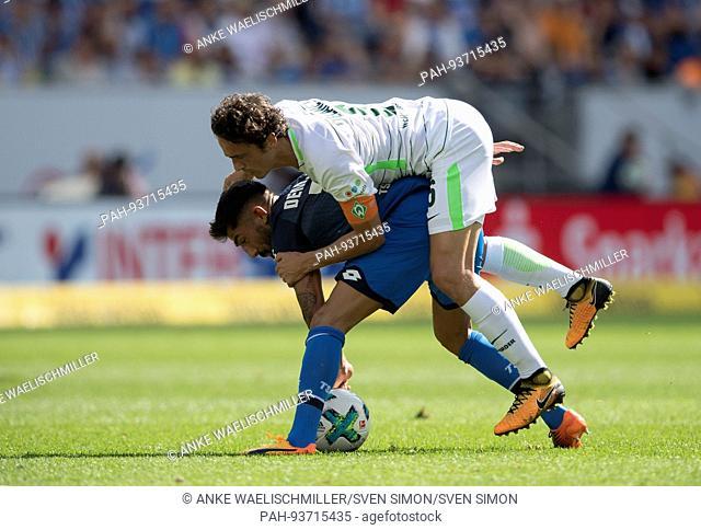 Kerem DEMIRBAY unten (1899) im Zweikampf gegen Thomas DELANEY (HB), Aktion, Fussball 1. Bundesliga, 1. Spieltag, TSG 1899 Hoffenheim (1899) - SV Werder Bremen...