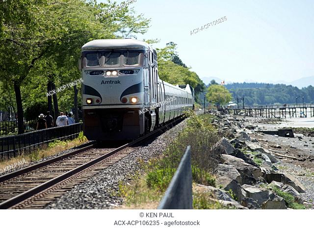 Amtrak Cascades along the water front in White Rock, BC, Canada