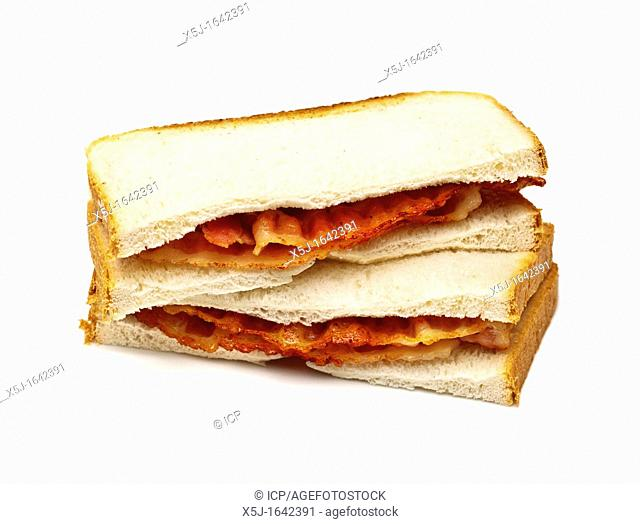 Bacon sandwich on white background