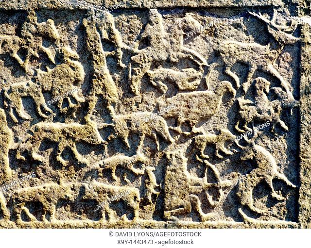Hunting animal scene on carved Celtic Pictish Christian symbol stone at Shandwick, Easter Ross, Highland Region, Scotland