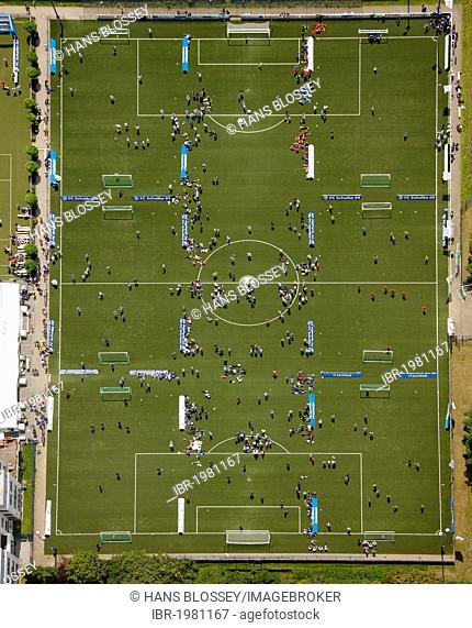 Aerial view, Schalke Arena, S04, football pitches, football tournament, Gelsenkirchen, Ruhr Area, North Rhine-Westphalia, Germany, Europe