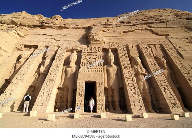 Egypt, Abu Simbel, small temple,  Colossal statues, visitors,  Africa, head Egypt, destination, destination, sight, landmarks, culture, rock temples, statues