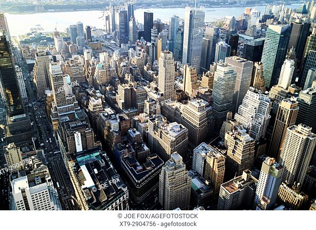 aerial view over the garment and hells kitchen clinton districts of New York City USA