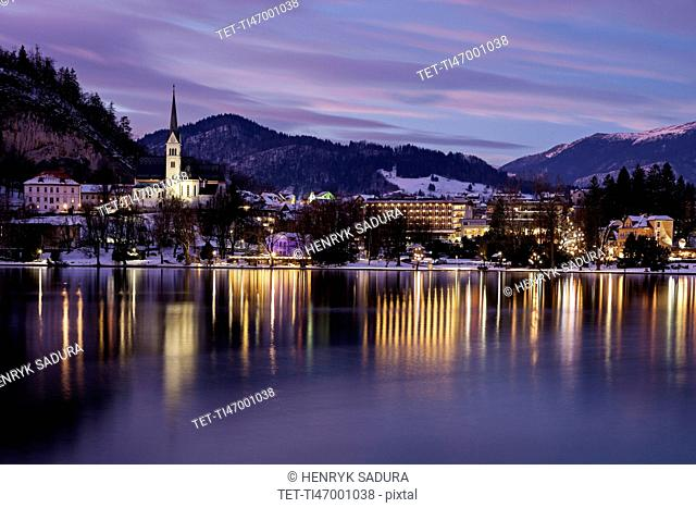 Lake Bled and illuminated waterfront