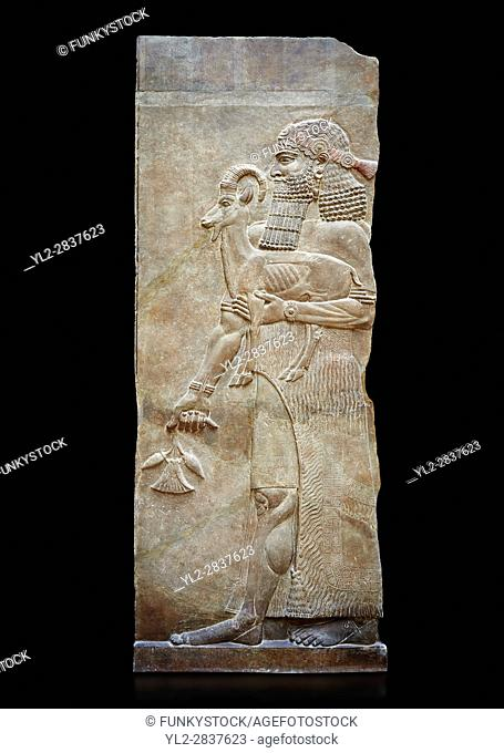 Stone relief sculptured panel of a man holding an Ibex and poppy seed pods. Facade N. Inv AO 19872 from Dur Sharrukin the palace of Assyrian king Sargon II at...