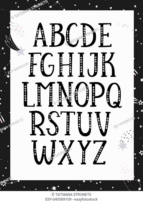 Hand drawn graphic font. Black and white, monochrome alphabet. For typography poster, card and label, brochure, flyer, page and banner design