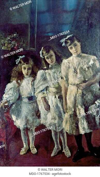 The little sisters (Le sorelline), by Emilio Gola, 1912, 20th Century, oil on canvas, 160 x 100 cm. Private collection. Whole artwork view
