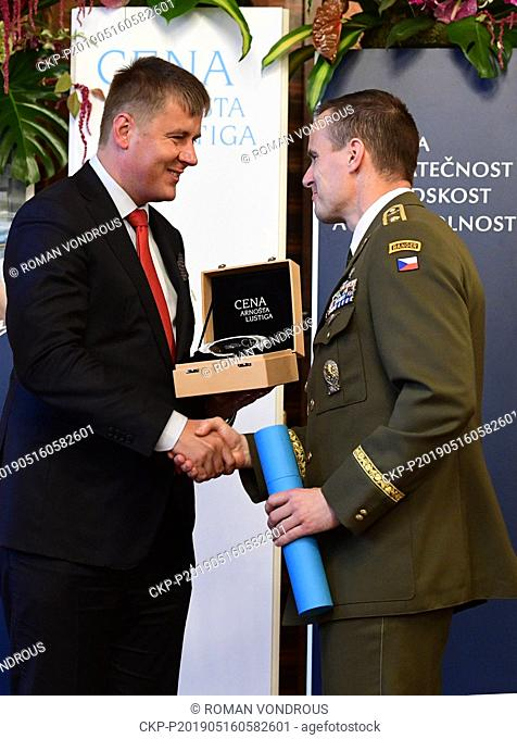Czech General Karel Rehka, right, a deputy head of the NATO Multinational Division North East, received the Arnost Lustig Prize for courage
