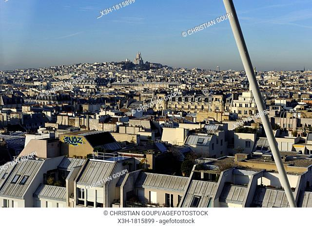 overview with the Basilica of the Sacred Heart background from the Centre Georges Pompidou, national Museum of Modern Art, Paris, Ile-de-France region, France