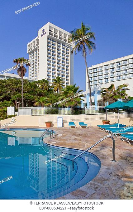 The pool area of the Caribe Hilton resort in San Juan, Puerto Rico, West Indies
