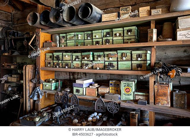 Old Shop, Wild West open-air museum, Nevada City Museum, former gold mining town, Ghost Town, Montana Province, USA