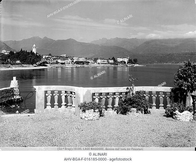 Panoramic view of Baveno on Lake Maggiore, taken from the Borromean Island of Fishermen, shot 1900-1910 ca. by Brogi
