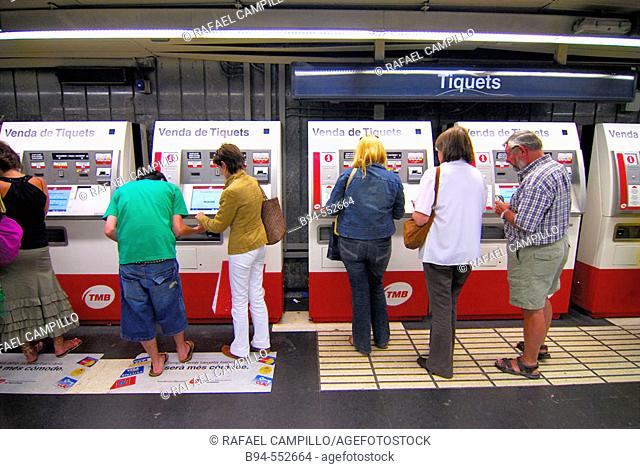 Ticket vending machines. Underground. Barcelona, Catalonia , Spain