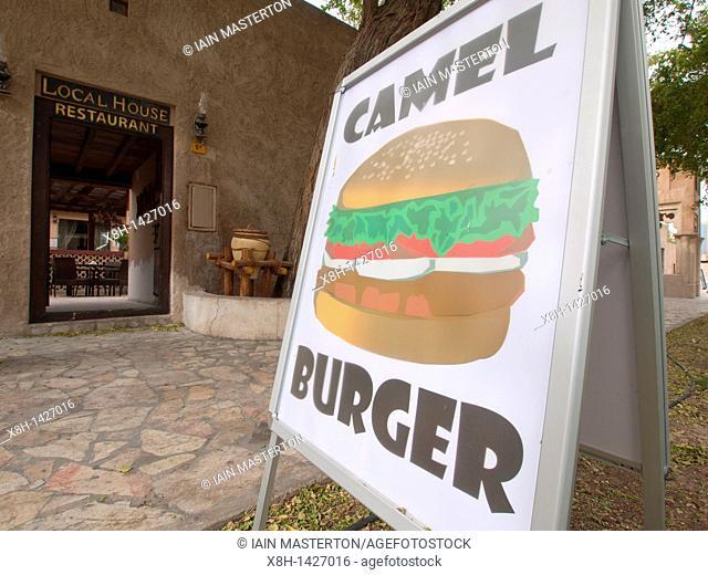 Cafe selling camel burgers at Bastakia Quarter Bur Dubai, Dubai, United Arab Emirates, UAE