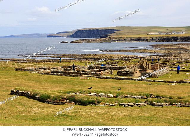 Birsay, Orkney Mainland, Scotland, UK, Great Britain, Europe  Remains of Pictish and Norse settlement excavated on the Brough of Birsay with view to coast