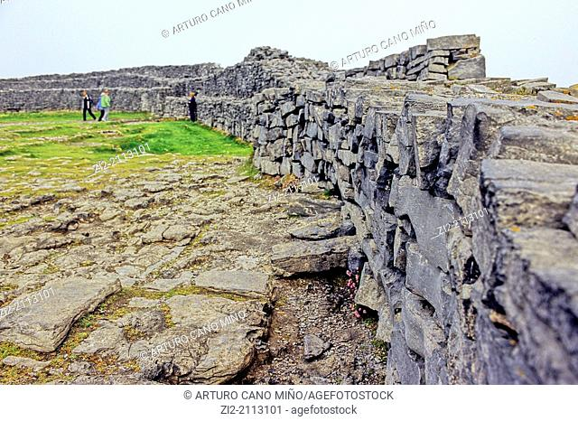 Dun Aengus is a Bronze Age and Iron Age fort, II century BC, Inishmore island, the Aran Islands, Republic of Ireland