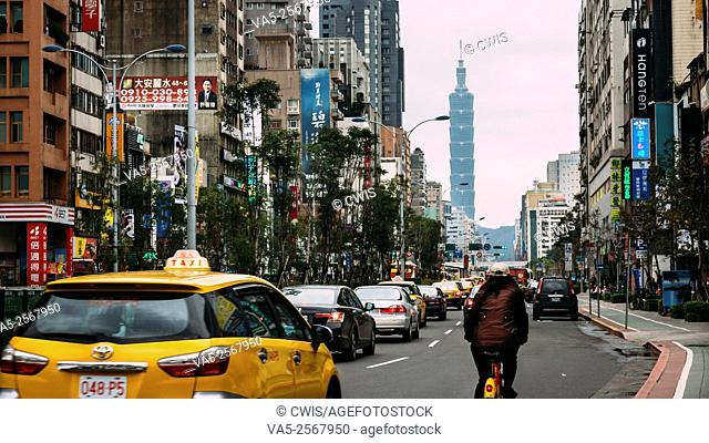 Taipei, Taiwan - Street view at Dontmen business district with 101 tower in the distance