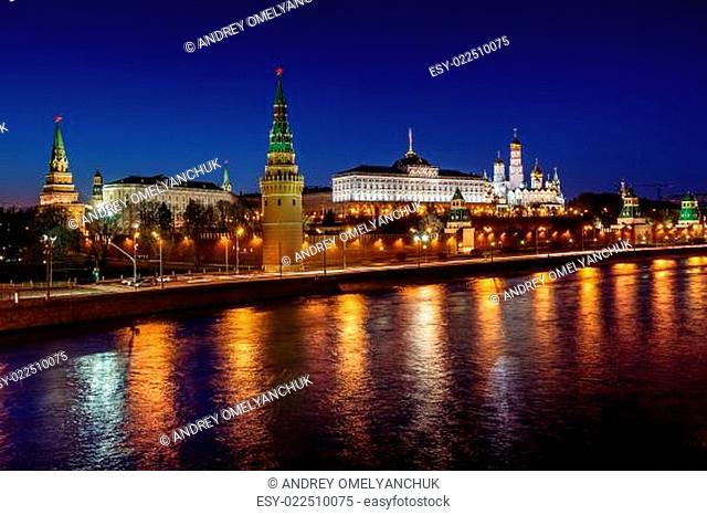 Moscow Kremlin Embankment and Vodovzvodnaya Tower in the Night