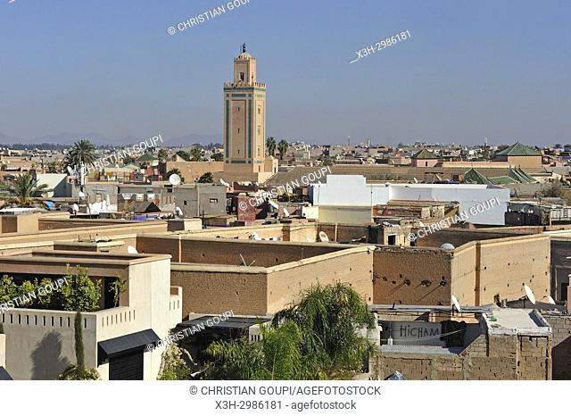 minaret of the Mosque Ben Youssef, Medina of Marrakesh, Morocco, North Africa