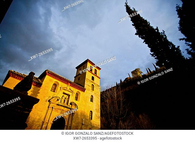 Saint Peter and Saint Paul church in the Granada's Neighborhood of Albaicín (Granada, Spain, Europe, Andalusia)