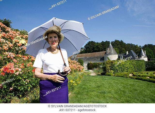 Mrs. Béatrice de Andia owner of La Chatonnière castle and gardens near Azay-le-Rideau. Indre-et-Loire, France