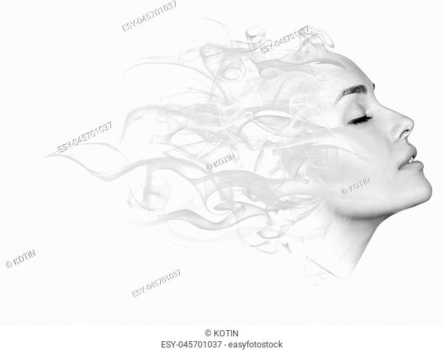 Double exposure portrait of young woman and cigarette smoke isolated on white