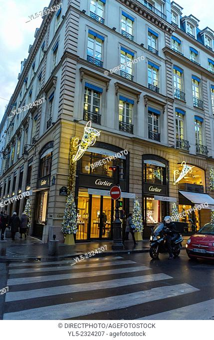 Paris, France, Outside Street Scenes, Night, Cartier Luxury Jewelry Shop, Rue Faubourg Saint Honoré