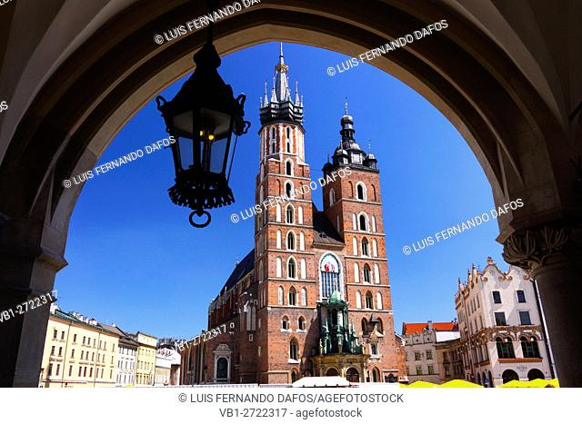 St. Mary's Basilica as seen from market arcade, Krakow