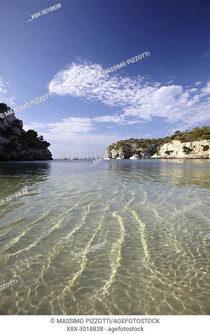 Clear water in Cala Macarella in Menorca,Balearic Islands, Spain