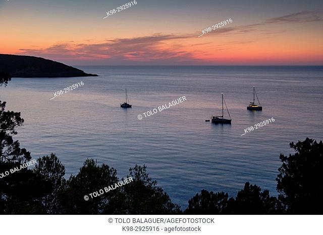 Moored sailboats in front of Cala Xarraca, Ibiza, Balearic Islands, Spain