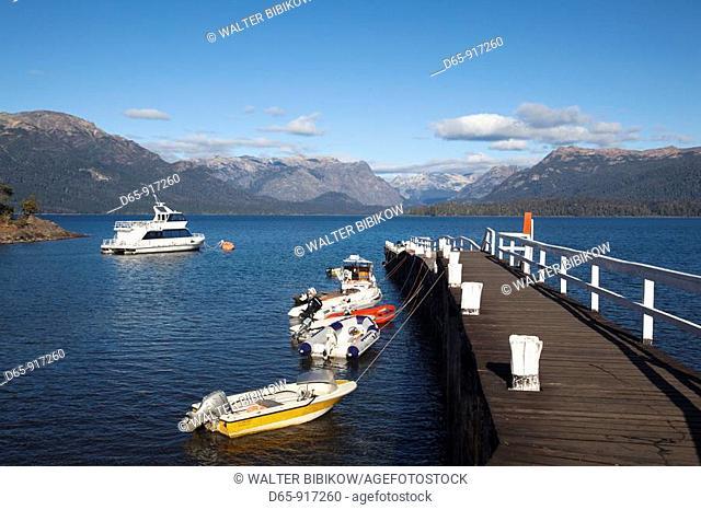 Bahia Brava bay pier, Lake Nahuel Huapi, Villa La Angostura, Road of the Seven Lakes, Lake District, Neuquen Province, Argentina