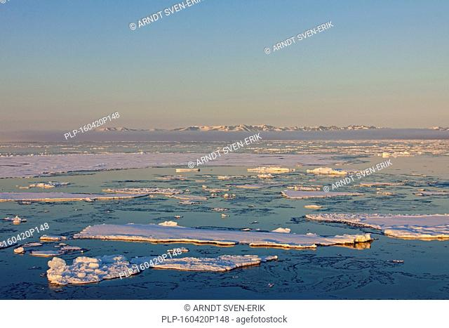 Pack ice in the Hinlopenstretet / Hinlopenstreet, strait between Spitsbergen and Nordaustlandet in Svalbard, Norway