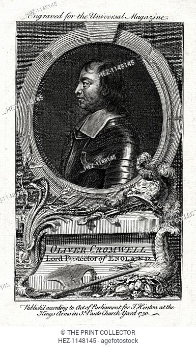 Oliver Cromwell, Lord Protector of England, 1750. Portrait of Cromwell (1599-1658), English soldier and statesman, Commander in Chief of the Parliamentary...