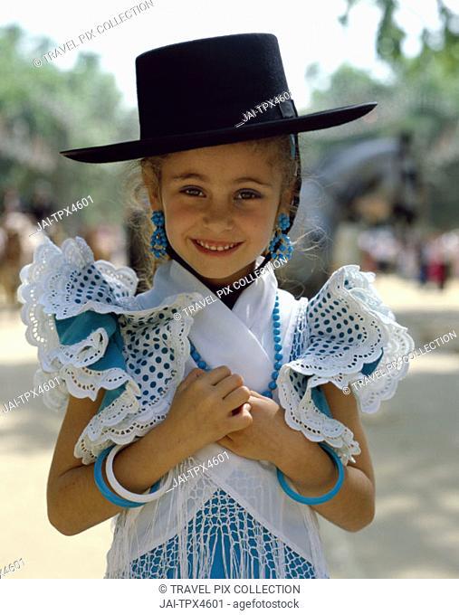 Fiesta / Horse Fair / Girl Dressed in Andalucian Costume, Jerez de la Frontera, Andalusia, Spain
