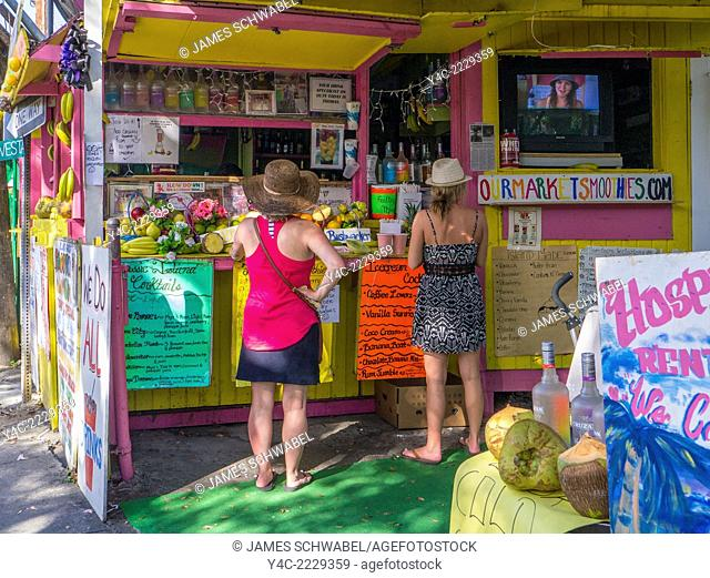 Outdoor fruit, smoothie stand in Cruz Bay on the Caribbean Island of St John in the US Virgin Islands