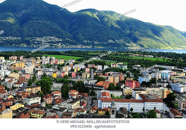 South Switzerland: Locarno city and the Lake Maggiore panorama seen from Orselina