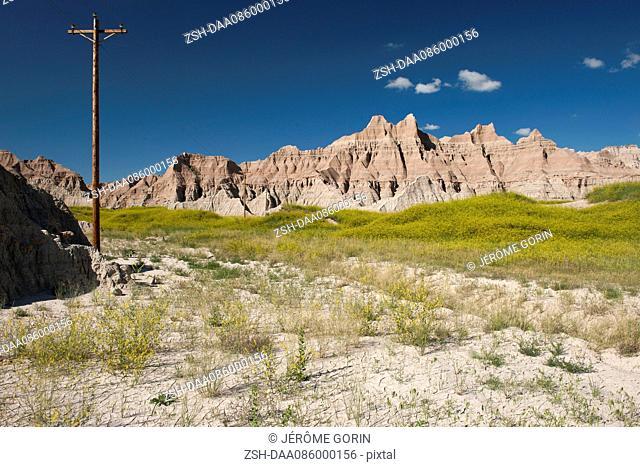 Power lines in Badlands National Park, South Dakota, USA
