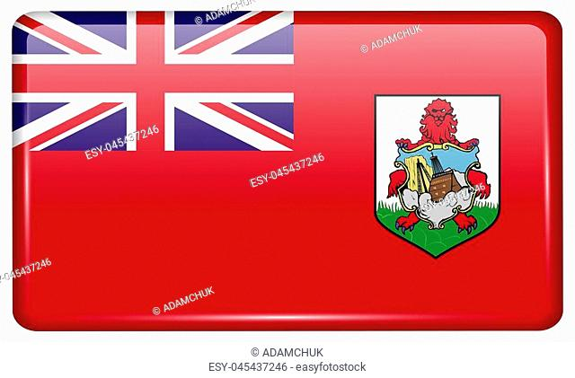 Flags of Bermuda in the form of a magnet on refrigerator with reflections light. illustration