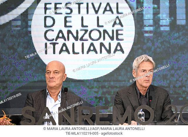 Claudio Bisio, Claudio Baglioni during the final press conference of 69th Sanremo Music Festival, Sanremo, ITALY- 10-02-2019
