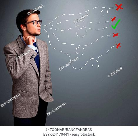 Young man choosing between right and wrong sings