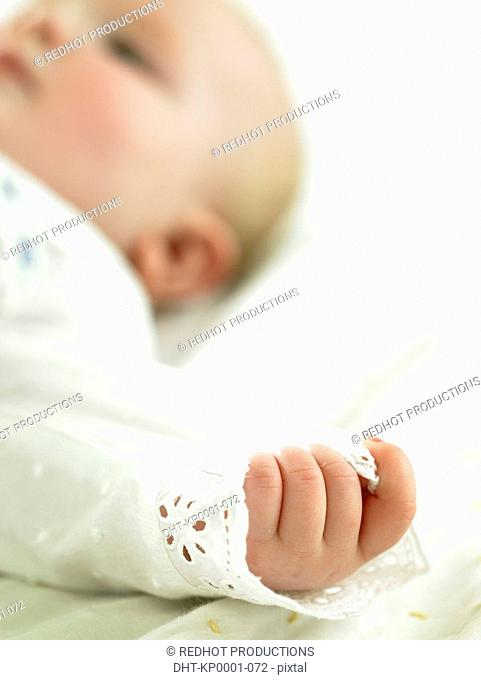 Baby with focus on hand