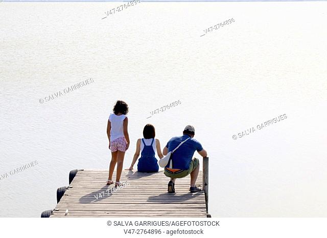 Family watching the Lake Albufera of Valencia, Spain, Europe