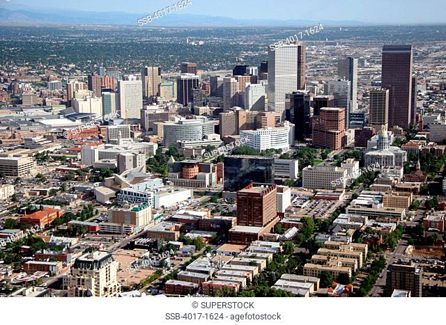 Aerial of the Civic Center District in Downtown Denver