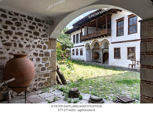 Typical old Ottoman house, in the courtyard of the Archaeological museum, old quarter of Korca, South eastern Albania